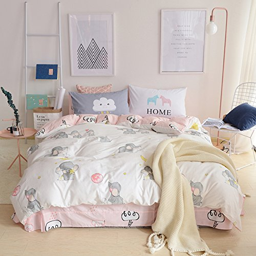 BuLuTu 100% Cotton Elephant Rabbit Print Girls Bedding Duvet Cover Sets Twin White/Pink 3 Pieces Kids Bedding Sets Twin with Zipper Closure,Love Gifts for Her,Daughter,Friend,68x86 in,NO Comforter