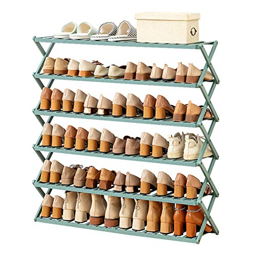 ReedG Organizador de Almacenamiento de Zapatos Organizador Multifuncional de Almacenamiento de Zapatos de pie Libre de 6 Niveles de Zapato de bambú Plegable de 6 Niveles Zapatero