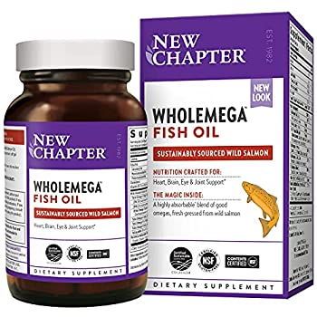 New Chapter Wholemega Fish Oil Supplement Wild Alaskan Salmon Oil with Omega-3 + Astaxanthin + Sustainably Caught Packaging May Vary 120 Count