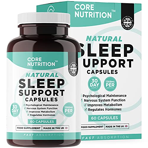 Sleep Support Capsules - Natural Complex of 13 Sleep Boosting Supplements incl Magnesium, 5-HTP, Montmorency Cherry - Natural Melatonin Alternative - 60 Capsules - Made in The UK by Core Nutrition
