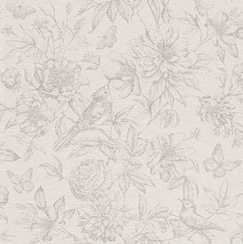 rasch Tapete 449433 aus der Kollektion Florentine II – Vliestapete in Hellgrau mit floralem Muster im Vintage Stil – 10,05m x 53cm (L x B)