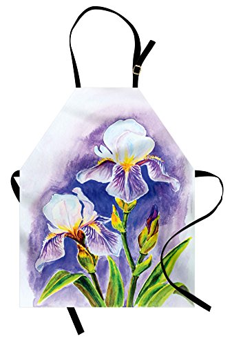 Lunarable Watercolor Flower Apron, Painting of Iris Flower Spring Season Blooming Plant Nature Art, Unisex Kitchen Bib with Adjustable Neck for Cooking Gardening, Adult Size, Violet Green