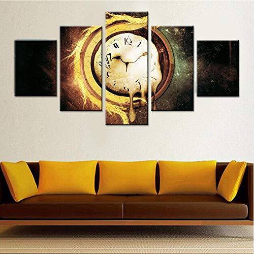 RAINSGIFT Pintura 5 Lienzo Pared HD decoración Casa Grande/Reloj Fijo decoración de Arte decoración de Interiores