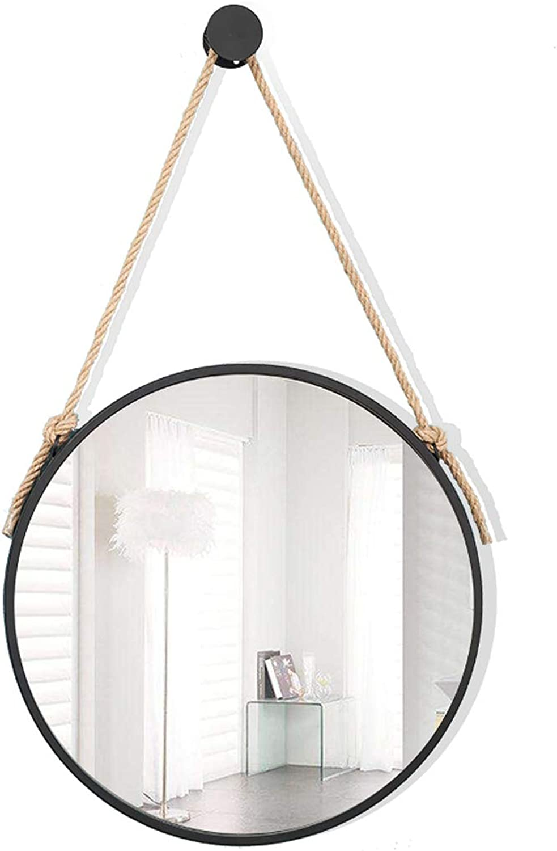 Large Modern Hanging Wall Mirror Round, True Glass Mirror Metal Frame, Rope, Diameter 30-80 cm Bathroom Lounge Hallway