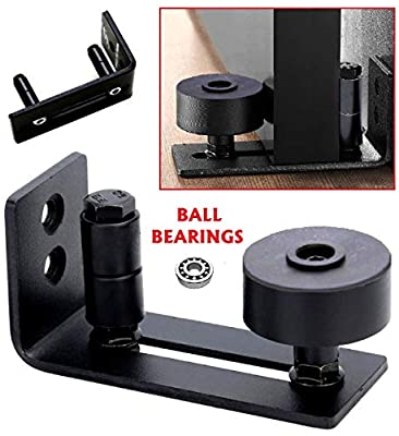 Black Flat Floor Guide for Bottom of Sliding Barn Doors Hardware by Floradis / Thin Adjustable Wall Mount Stay Roller Bracket with 8 Different Setups / Ultra Smooth Slide Guidances / Full Kit Included