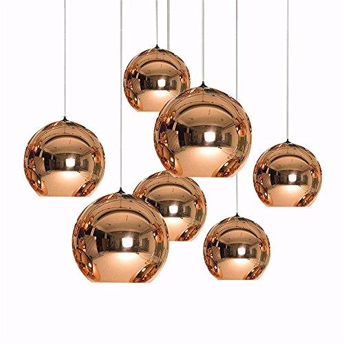 Arte moderno Globo colgante Luz Dorado Cobre Lámpara de la bola de cristal Sombra Lámpara de suspensión Lámpara de mesa de cocina Accesorios de iluminación, cooper 40 cm