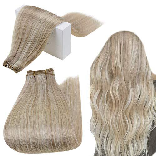 RUNATURE Haarverlängerung Haartressen Echthaar 40cm 100g 16 Zoll Farbe 18AP60 Aschblond Hervorgehoben Haarteile Echthaar Tressen Zum Einnähen