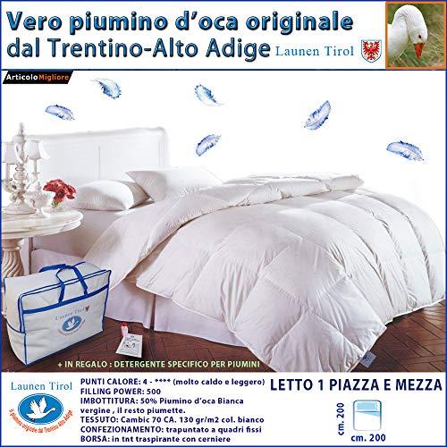 Piumone, Piumino Invernale Piazza e Mezza 200 x 200 in vera Piuma d' Oca -LAUNEN TIROL - dal Trentino Alto Adige Caldissimo! (TINA 200X200 W))200