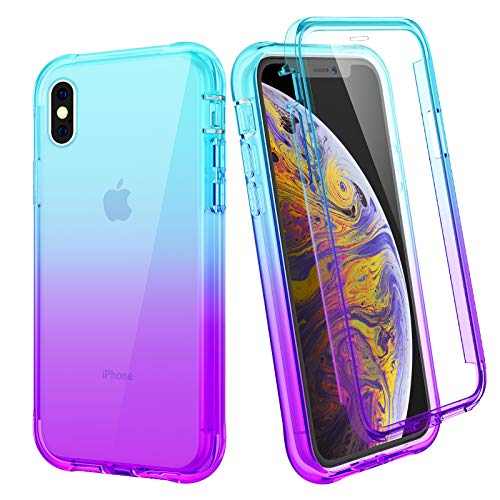 Ruky iPhone X Case, iPhone Xs Case, Full Body Case with Built-in Screen Protector Heavy Duty Rugged Shockproof Soft TPU Protective Clear Women Girls Phone Case for iPhone X iPhone Xs, Teal Purple