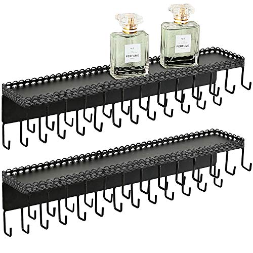 MyGift Set of 2 Black Metal Wall-Mounted Jewelry Hanging Shelf with 26 Necklace Hooks