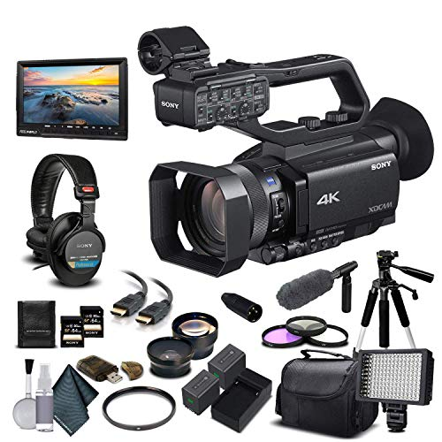 Sony PXW-Z90V 4K HDR XDCAM with Fast Hybrid AF(PXW-Z90V) with 2-64GB Memory Card, 2 Extra Batteries, UV Filter, LED Light, Case, Tripod, Sony Mic, Sony MDR-7506 Headphones - Professional Bundle
