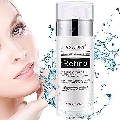 Retinol Face Cream with Hyaluronic Acid & Vitamin E High Strength 2.5% Retinol Moisturiser Day and Night Cream for Men Women Anti Aging, Reduces Wrinkles, Fine Lines. 50ml