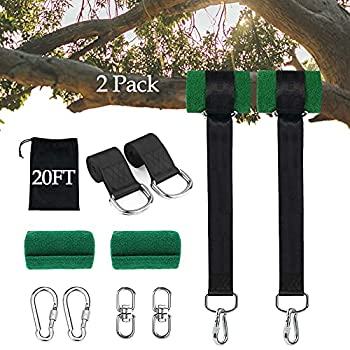 Werfeito 20FT Extra Long Tree Swing Straps Holds 5000 lbs  Set of 2  Tree Swing Hanging Kit with Tree Protector Heavy Duty Carabiner and Swivel Perfect for Swings & Hammocks Easy Fast Installation