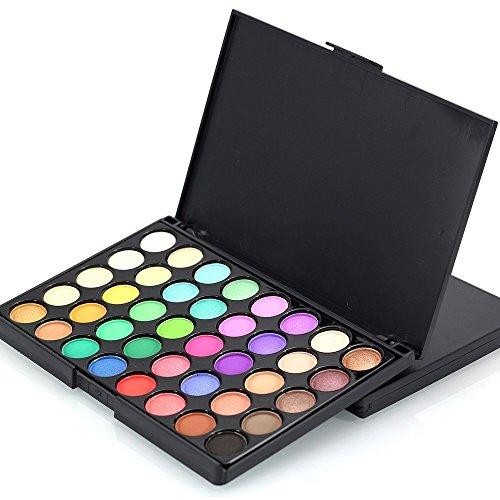 Tonsee Kosmetische Matte Lidschatten Creme Make-up Palette Schimmer Set 40 Farben + Pinsel Set,B