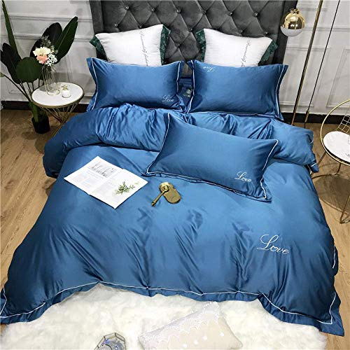 Duvet Cover Sets,Bedding Set Double Bed Cotton Green Double King Bedding Set Bed Set Silk Satin Duvet Cover Flat Sheet Set