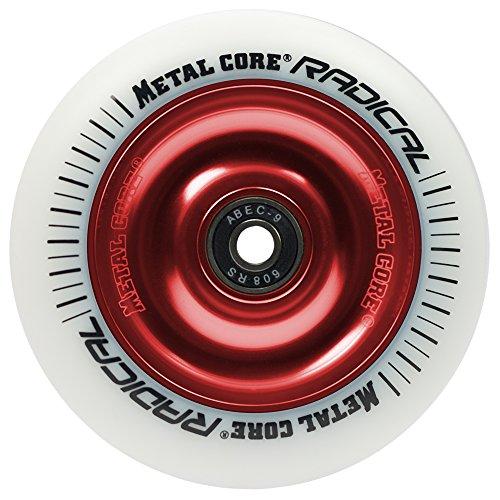 Metal Core Radical Ruedas Scooter, Blanco/Rojo, Talla Única