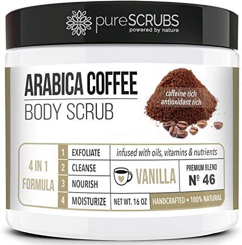 pureSCRUBS Premium Organic Arabica Coffee Body Scrub Set VANILLA BLEND Lg 16oz Anti Cellulite product image
