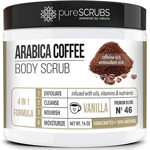 pureSCRUBS Premium Organic Arabica Coffee Body Scrub Set - VANILLA BLEND Large 16oz Anti Cellulite Scrub With Essential Oils & Nutrients + FREE Wooden Spoon, Loofah & Mini Organic Exfoliating Bar Soap