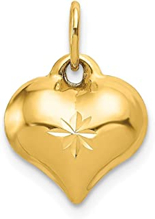 14k Yellow Gold 3 D Heart Pendant Charm Necklace Love Puffed Fine Jewelry Gifts For Women For Her