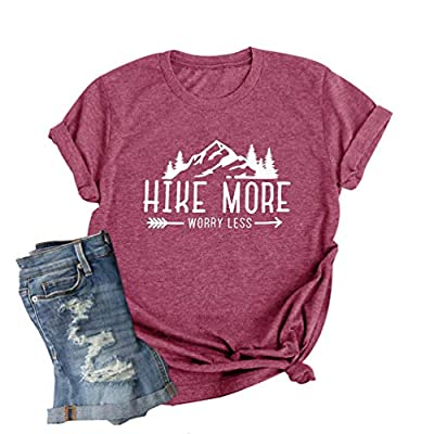 Hike More Worry Less Shirt Women Hiking Hiker Outdoor T-Shirt Nature Mountain Graphic Short Sleeve Tee Tops Pink