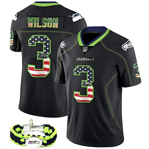 Child Adult American Football Trikot 2020 neueste Nationale Version T-Shirt, Wilson Seahawks Fan Uniform Kit, das gleiche Armband, wiederholbare Reinigung-L