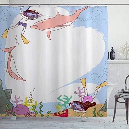 EricauBird Duschvorhang Tauchen Kinder Delfin Koralle Meerestiere Krabbe Duschvorhang mit Ringen Polyestergewebe Duschvorhänge mit Haken Bad Badezimmer Dekor