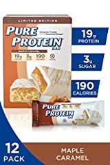You will Receive (12) Pure Protein bars, Maple Caramel, 1.76 oz Delicious & Gluten Free: Pure Protein bars feature the combination of high quality protein and great taste. This delicious, Gluten Free, chewy Chocolate Chip bar has 20 grams of protein ...
