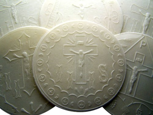 Assorted Pack of 100 White Altar Bread Embossed with Traditonal Designs 2 7/8' Dia Church Mass Hosts