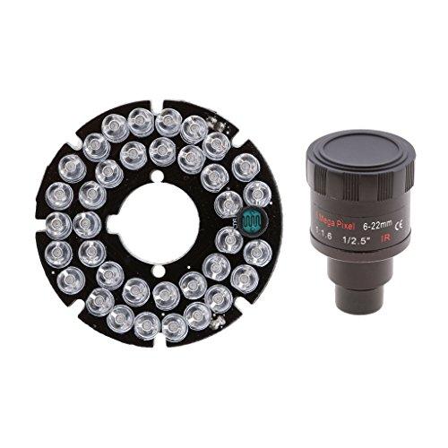 H HILABEE 36 LED Nachtsichtlicht IR Infrarotlampe für CCTV Kamera + Kamera Zoomobjektiv