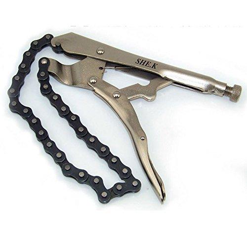 NUZAMAS Abrazadera de cadena de bloqueo de 23 cm de 23 cm de acero con pinza de bloqueo de llave de agarre de aceite de filtro de tubo de corte de tornillo (cadena de 49 cm de largo)