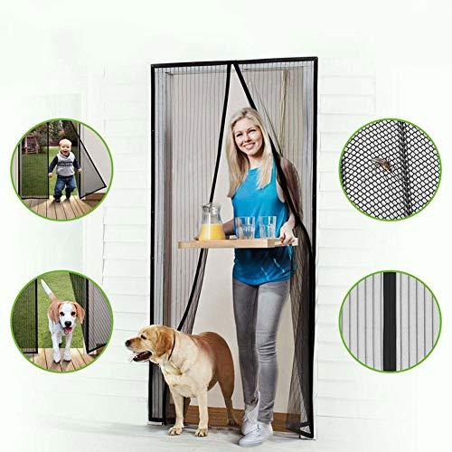 Vliegengaas, zwarte magnetische zachte deurgordijnen zijn duurzaam en stansvrij scherm, geschikt voor balkoncorridors. 95x270cm(37x106inch)