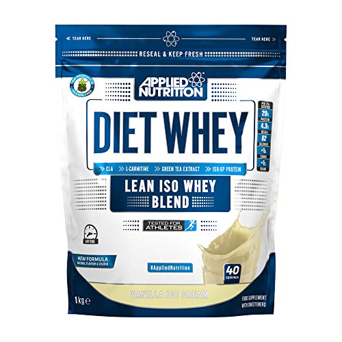 Applied Nutrition Diet Whey Protein Powder, High Protein, Low Carb, Low Sugar, Weight Loss with CLA, L Carnitine, Green Tea, High PhD Supplement 1kg - 40 Servings (Vanilla Cream)