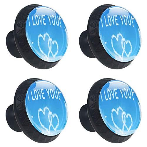 Bennigiry I Love You Clounds Herz-Romantik Kristallglas Schranktürknauf Ziehgriffe ergonomisch...