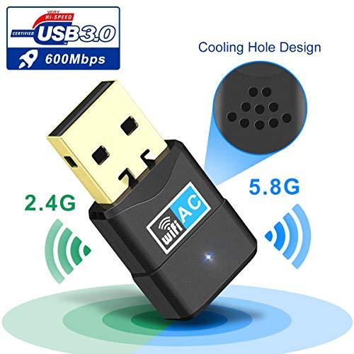 WiFi USB Adaptador, 600Mbps Wifi Dongle Dual Band 5.8G/2.4Ghz 802.11AC con Antena de 5dBi...