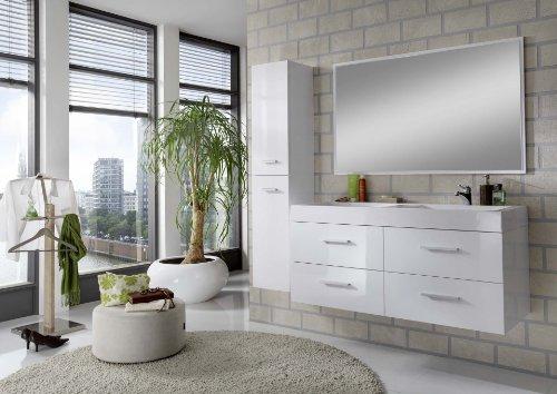 SAM® Design Badmöbel-Set Hilo, Hochglanz weiß, 120 cm Badmöbelset mit Softclose-Funktion, Badezimmerblock bestehend aus 1 Hochschrank, 1 Spiegel, 4 Schubladen, Doppel-Waschbecken