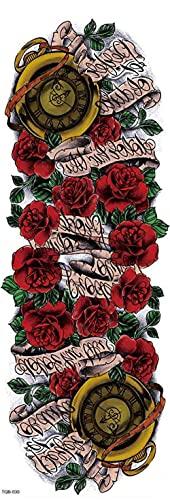 Flores De Colores Reloj Mapa Brazo Completo 17X48cm-10Pcs Tatuaje Para Hombros Realistas Impermeables Pecho Espalda Piernas Tatuajes De Transferencia Temporal Seguro Para Toda La Piel Para Hombres A