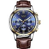 LIGE Men Watches Fashion Sport Waterproof Analog Quartz Chronograph Stainless Steel Brown Leather Mens Bracelet Wrist Watches