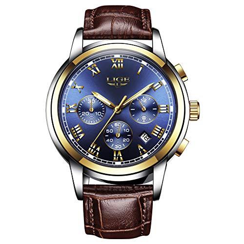 LIGE Herrenuhr Leder Mode Edelstahl Wasserdicht Analog Quarz Klassisch Sport Business Chronographen Blaues Zifferblatt Kalender Armbanduhr LG981