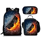 ELEQIN 3-in-1 High School Backpack Shoulder Lunch Bag Pencil Case with Ice Hockey Printing Children Bookbag