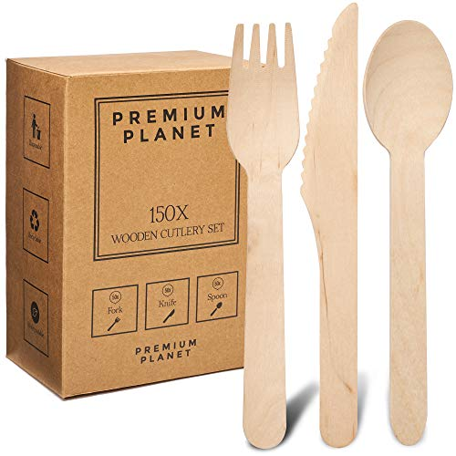 Premium Planet 150x Set Biodegradable Wooden Cutlery | Eco Friendly | 50x Forks 50x Knives 50x Spoons | Large Disposable Wooden Cutlery