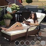 TecTake Polyrattan Gartenliege 6-Fach höhenverstellbar mit gummierten Rädern - 6