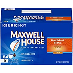 One Box of 84 Maxwell House Breakfast Blend K Cup Coffee Pods Breakfast Blend coffee pods deliver the same quality you expect from any package of Maxwell House Designed for use in Keurig 1.0 & 2.0 brewing systems Light & Bright, a good start to the d...