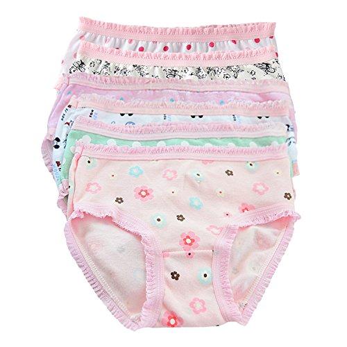Chic-Chic Lot de 6 Culotte Slip Shorty Bébé Fille Fillette en Coton Doux Dentelle Motif Imprimé sous-Vêtements Enfants Ultra Doux Couleur Aléatoire