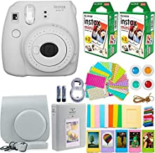 FujiFilm Instax Mini 9 Instant Camera + Fujifilm Instax Mini Film (40 Sheets) Bundle with Deals Number One Accessories Including Carrying Case, Color Filters, Photo Album + More (Smokey White)