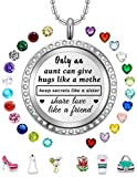 Floating Charms Necklaces Birthstone Locket Pendant Gifts for Aunt from Niece Teen Girls Jewelry