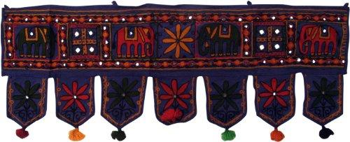 Guru-Shop Tapisserie Indienne, Fanion Oriental à Paillettes, Toran - éléphant Bleu Foncé, Lecoton, 30x85 cm, Pochettes Murales Tentures Murales