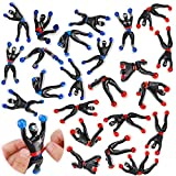 Liberty Imports Sticky Wall Climbing Ninjas with DIY Costume Stickers, Stretchy Climbers Window Crawlers, Party Favor Tricky Novelty Toys Climbing Rolling Men for Kids (Pack of 24)