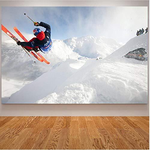 pcrcp Sport Leinwand Malerei Skifahren Poster und Drucke Snowboarden Snow Mountain Flying Wandbilder für Wohnzimmer -60cmx70cm