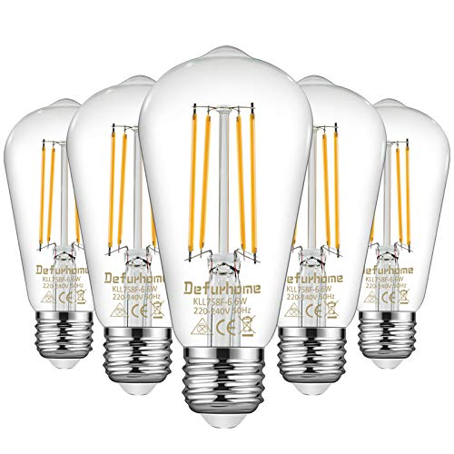 Defurhome ST58 E27 6W LED Edison Light Bulbs 60W Equivalent, Daylight White 5000K, Not Dimmable, Clear Glass, E27 Base Lamp for Home, Restaurant, Reading Room, Pack of 5