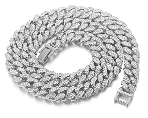 Cuban Link Chain for Men Iced Out,15MM Men's Gold Chain Miami Choker Necklace 18In(45cm) Platinum White Gold Finish,Full Cz Diamond Cut Prong Set,Gift for Him